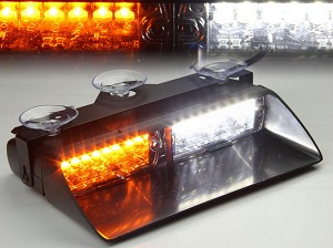 LED Dashboard Strobe Light Amber/White 18W