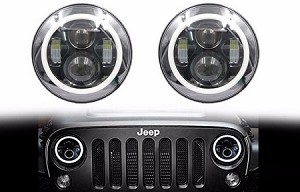 "2 NEW 7"" inch Round Angel Eye CREE LED HALO Headlights for JEEP Wrangler JK/TJ/LJ/CJ"